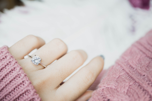 Halo Engagement Ring Bridal Set